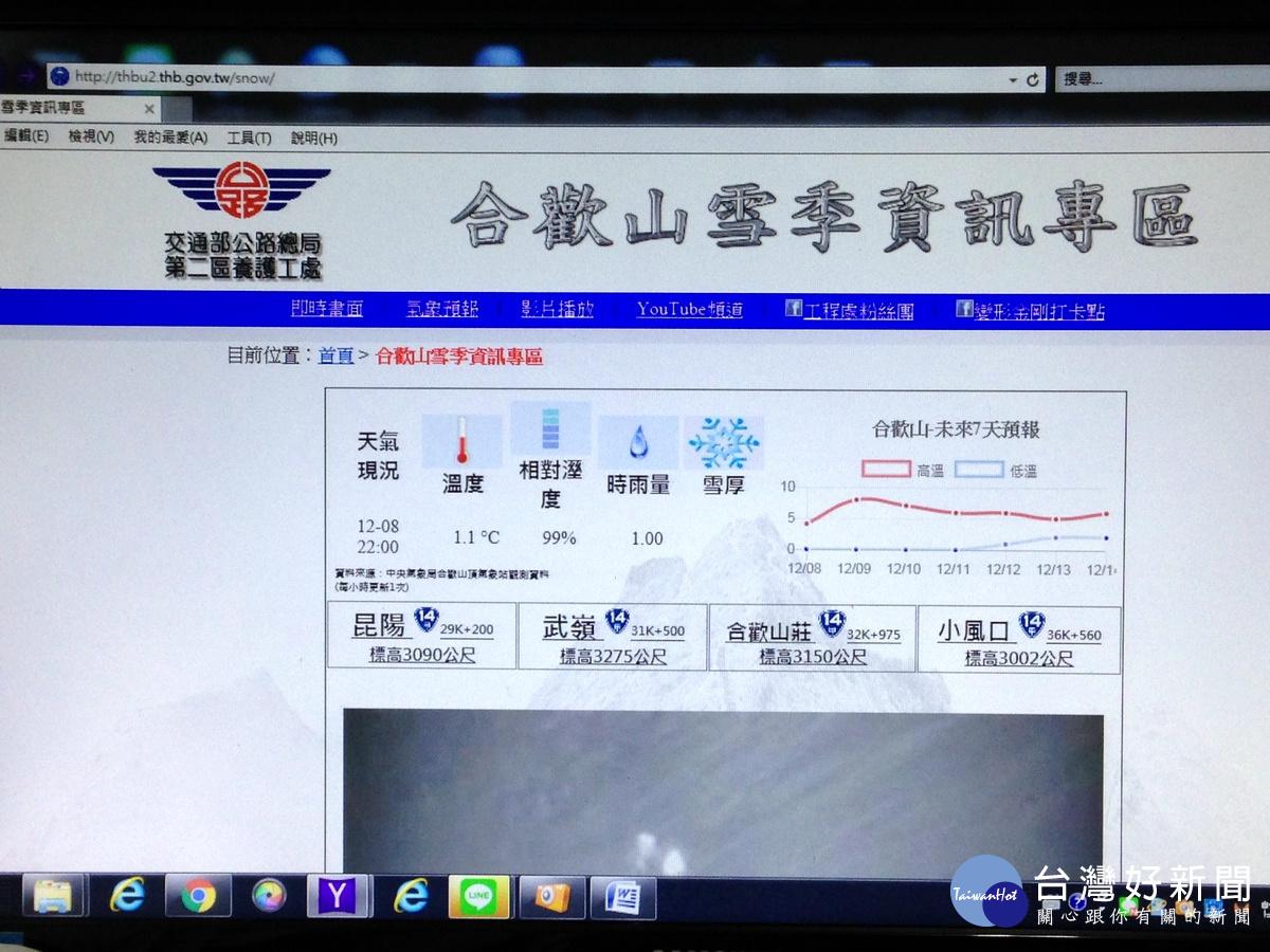 「合歡山雪季資訊專區」 提供民眾賞雪熱點CCTV即時影像