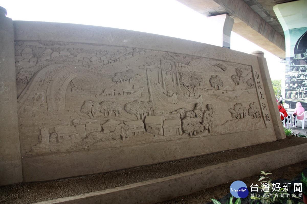 國際沙雕藝術開展 陸沙雕琢南投上河圖吸睛_